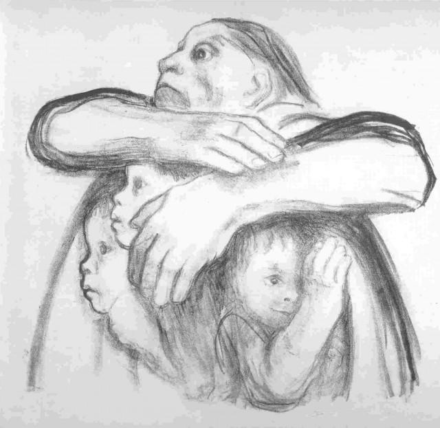 мать защищает детей
