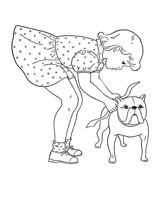 девочка и бульдог