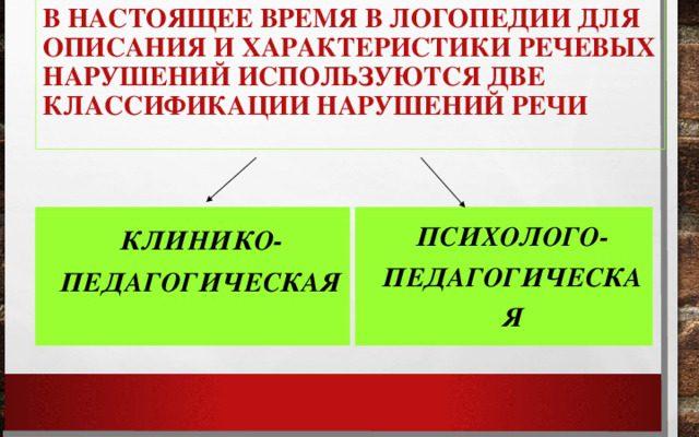 классификации речевых нарушений