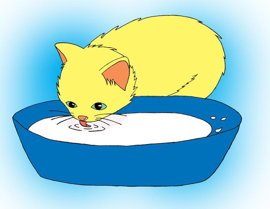 сюжетная картинка котенок пьет молоко